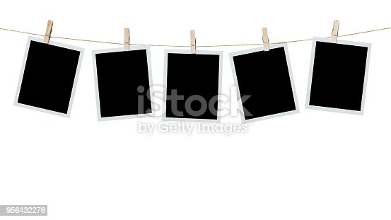 istock five photo frame blank hanging on isolated white with clipping path. 956432276