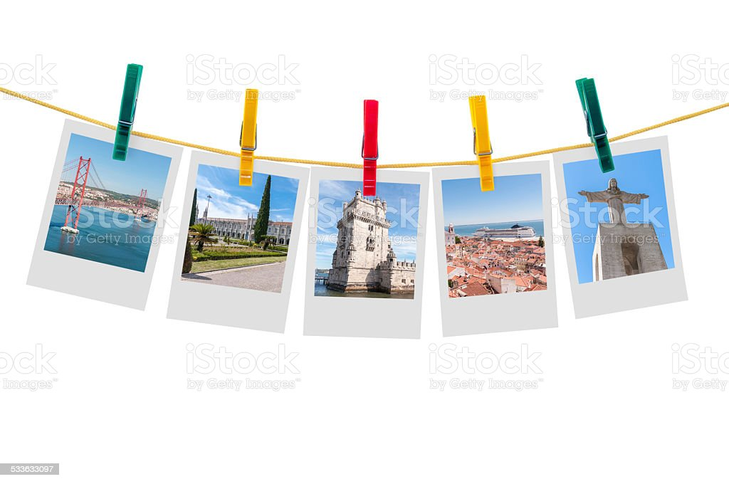 Five photos of Lisbon on clothesline stock photo