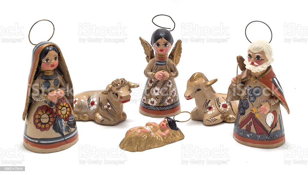 five piece painted clay nativity scene stock photo