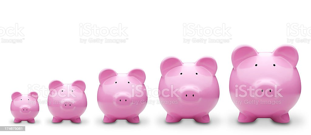 Five Piggy Banks in a row royalty-free stock photo