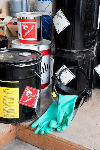 Piled buckets and cans of hazardous chemicals along with the face shield and gloves to handle them. Skull and cross bones symbol and flammable liquids.