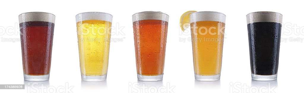 Five Pints of Beer stock photo
