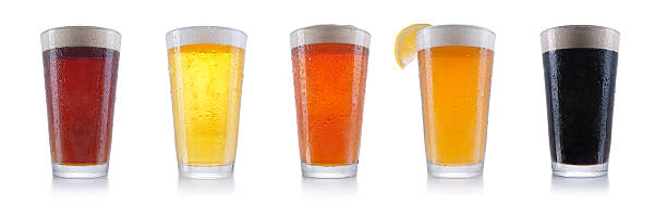 Five Pints of Beer Five pints of beer. lager stock pictures, royalty-free photos & images