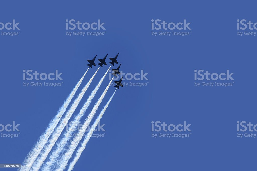 Five planes flying in formation for an air show stock photo