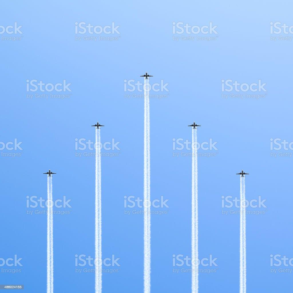 Five planes. stock photo