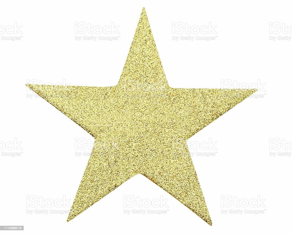 Five Pointed Gold Glitter Star On White Background stock photo
