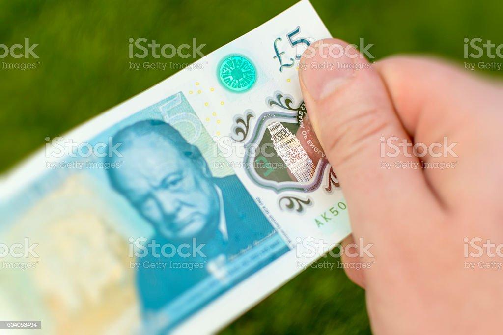 2016 UK Five Pound Note - Big Ben Detail stock photo