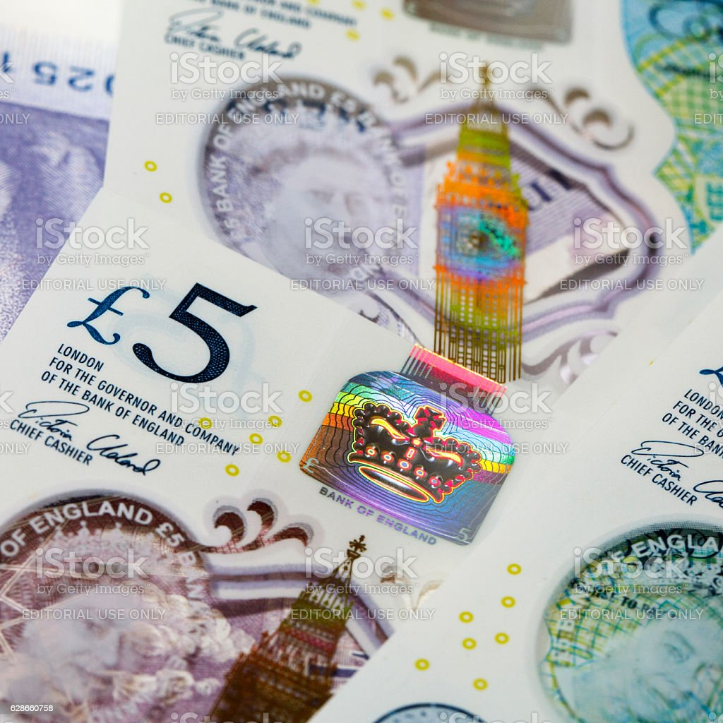 Five Pound Note - Holograms stock photo