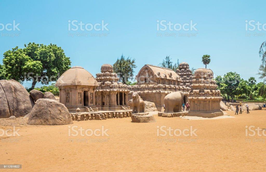 Five Rathas, a UNESCO world heritage site in Mahabalipuram, Tamil Nadu, India stock photo