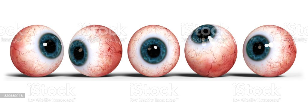 five realistic human eyes with blue iris, isolated on white backgroun stock photo