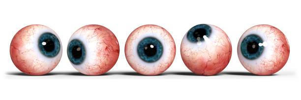 fünf realistische menschliche Augen mit blauen Iris, isoliert auf weißem Zeitmessung – Foto