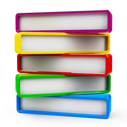 Five color rectangle - represents five steps, three-dimensional rendering, 3D illustration