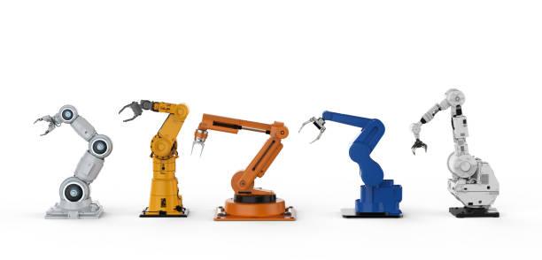 Five robotic arms stock photo