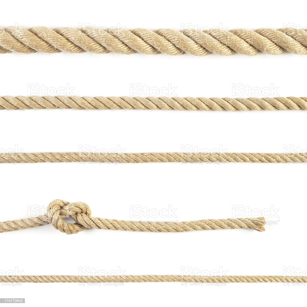 Five ropes and knot isolated on white background stock photo