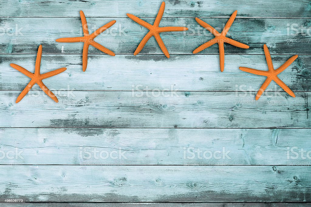 five sea stars on a turquoise wooden board stock photo