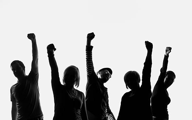 five silhouettes of people - voting hands stockfoto's en -beelden