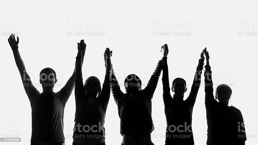 Five silhouettes of people royalty-free stock photo