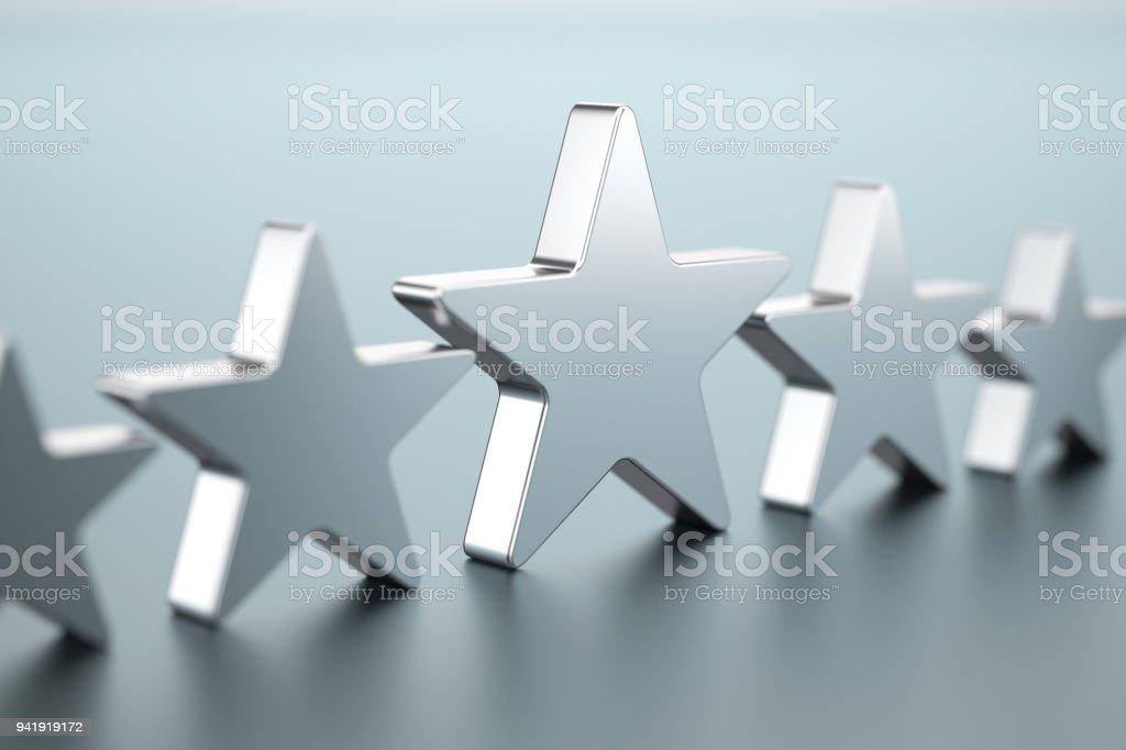 Five silver stars stock photo