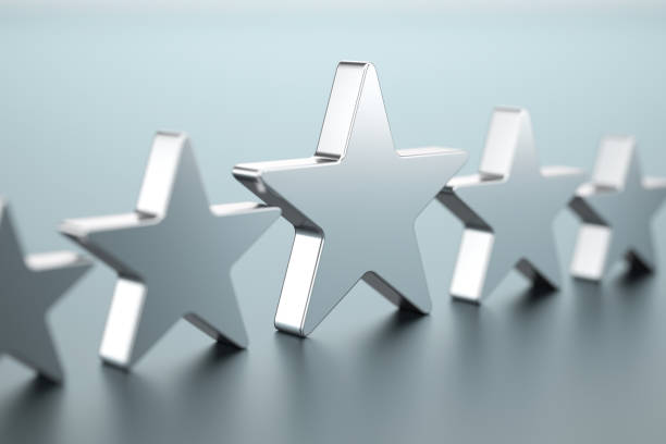 Five silver stars Five silver stars first class stock pictures, royalty-free photos & images
