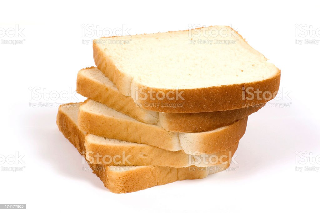 Five slices of white bread on background stock photo
