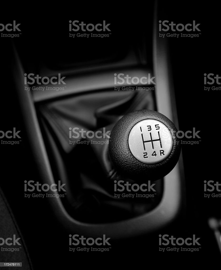 Five speed manual gear shift stock photo