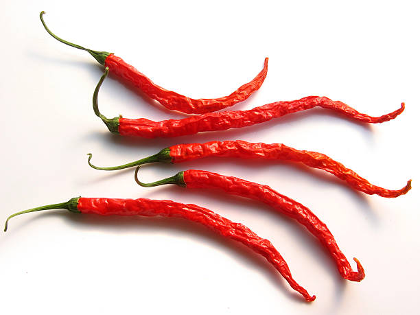 five spicy thai chilies stock photo