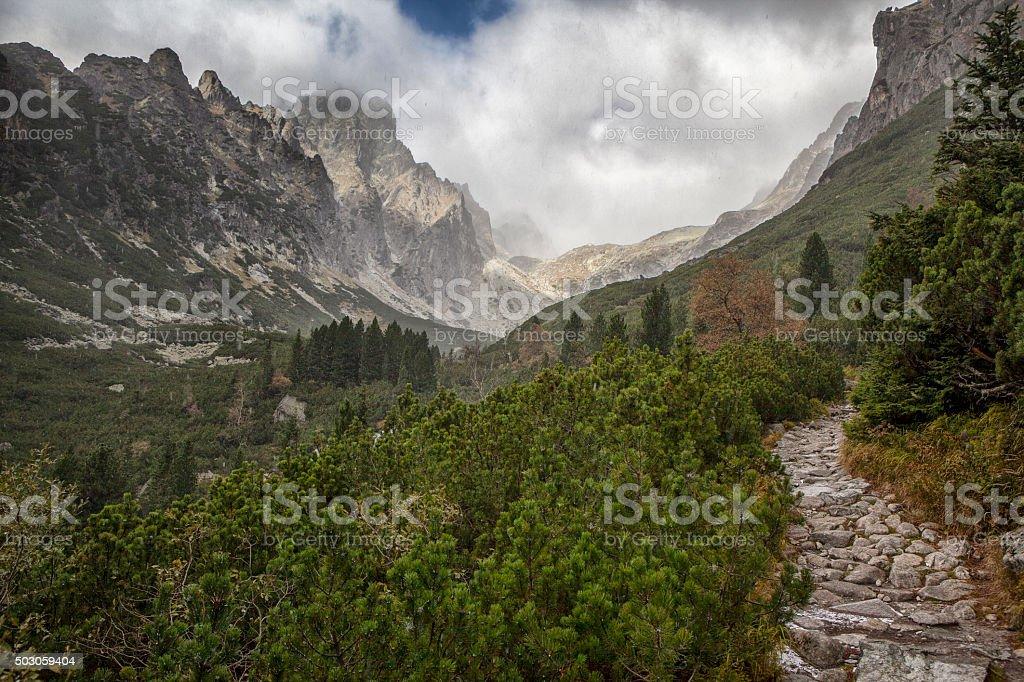 Five Spiskie Lakes Valley in High Tatra Mountains, Slovakia stock photo
