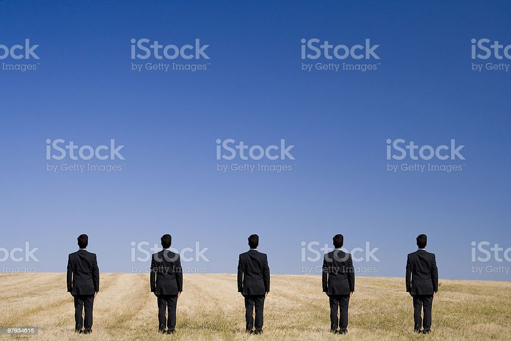 Five standing on the field royalty-free stock photo