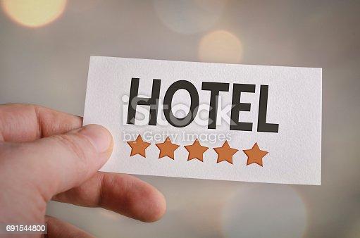 istock Five star hotel card 691544800