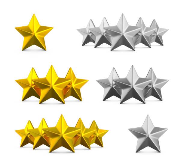 Fünf-Sterne-Bewertung. Verschiedene Reihen von einem, drei und fünf Sterne. Goldsterne geprägt und Silber auf weiß. – Foto