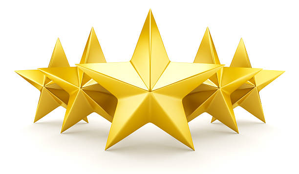 five star rating - shiny golden stars - five objects stock pictures, royalty-free photos & images