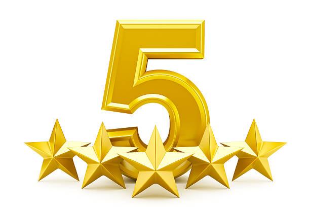 Five star rating - shiny golden stars stock photo