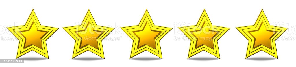 Five star rating - shiny golden stars stock photo
