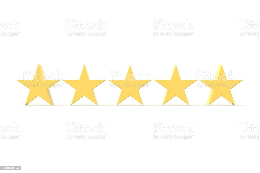 Five Stars, Gold stock photo