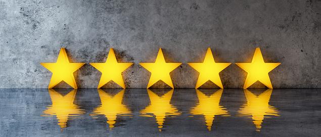 Five stars on grey concrete background 3d render 3d illustration