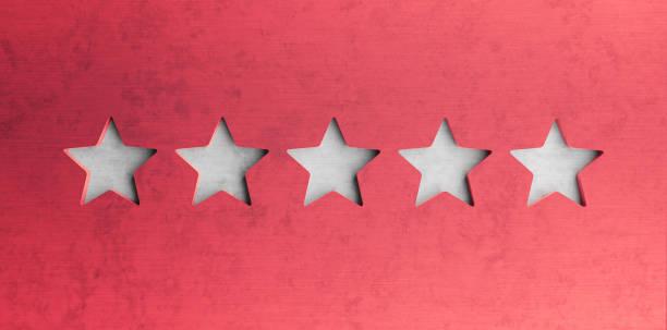 fünf sterne auf rotem betonhintergrund 3d rendern - kunst 1. klasse stock-fotos und bilder