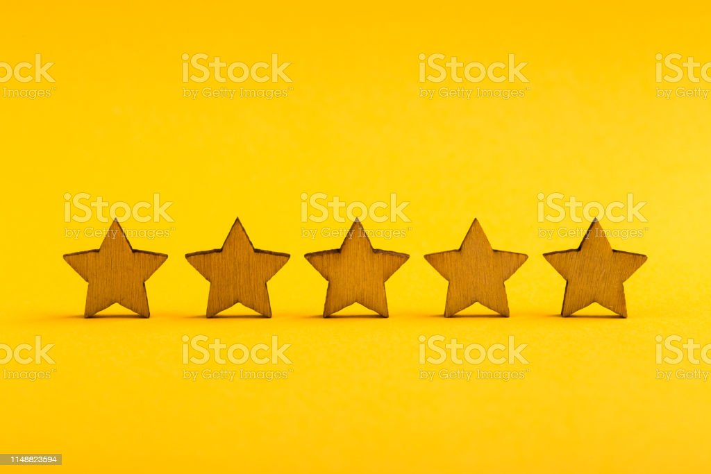 Five stars on the yellow background.