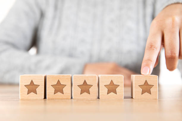 Five Stars Rating and Positive Feedback Concept stock photo