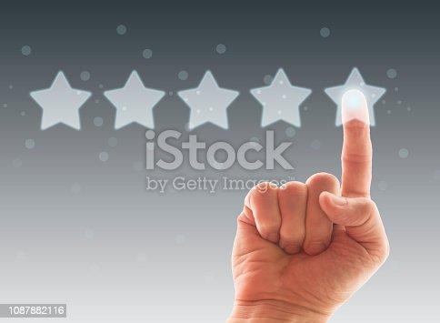 istock Five Stars Rating, positive feedback 1087882116