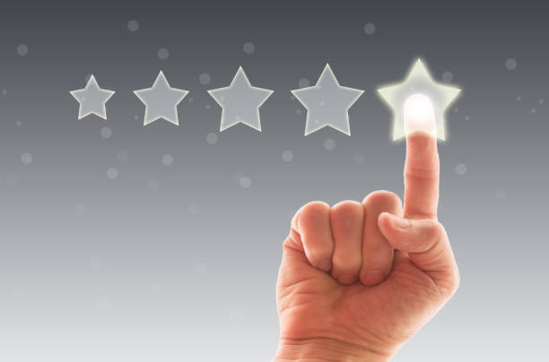 Five Stars Rating, positive feedback stock photo