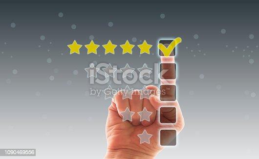 istock Five Stars Rating, positive feedback 1090469556