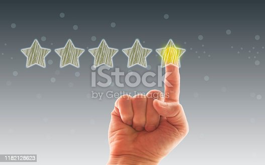 1133580311 istock photo Five Stars Rating, positive feedback 1182128623