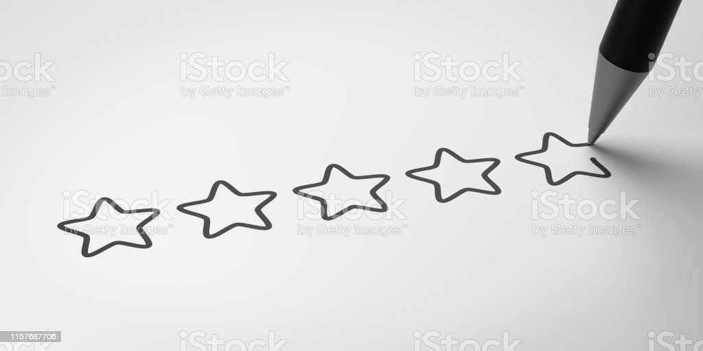 Black Pencil Writing Five Stars on White 3D Illustration,...