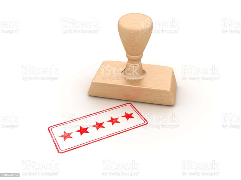 Five Stars Rubber Stamp - 3D Rendering stock photo