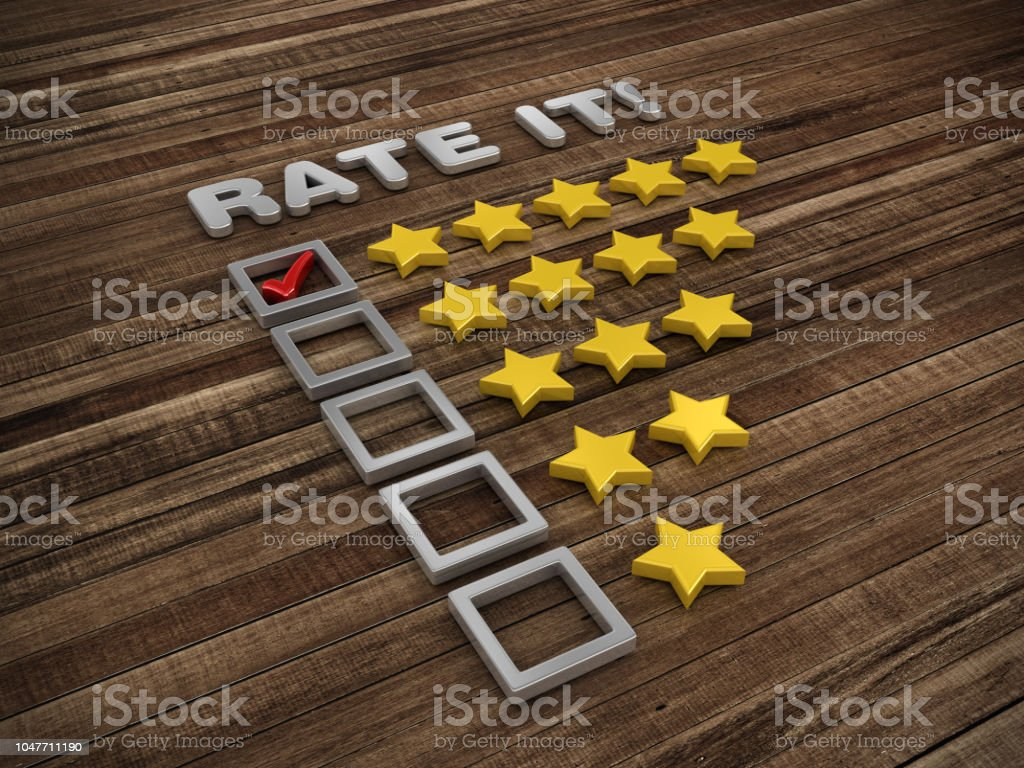 Five Stars Survey Check List on Wood Floor - 3D Rendering stock photo