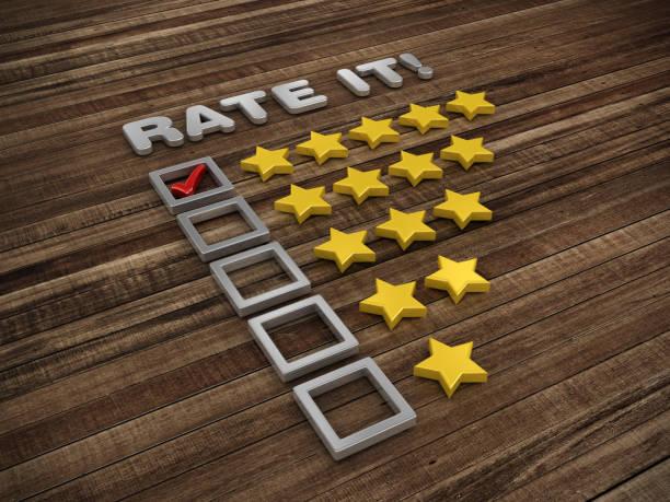 Fünf Sterne Umfrage Checkliste auf Holzboden - 3D Rendering – Foto