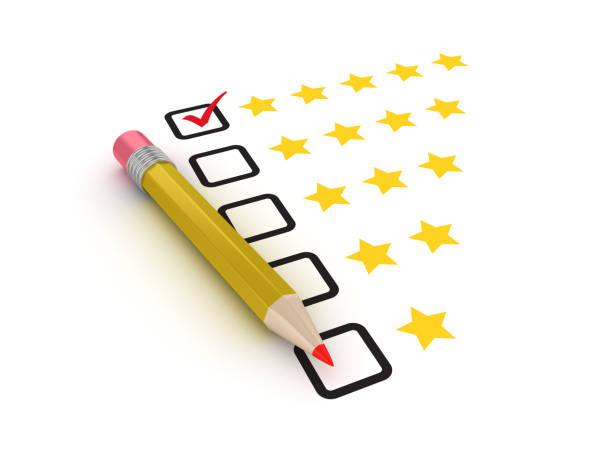 Fünf Sterne Umfrage Checkliste mit Bleistift - 3D Rendering – Foto