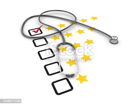 531925785 istock photo Five Stars Survey Check List with Stethoscope - 3D Rendering 1046071240