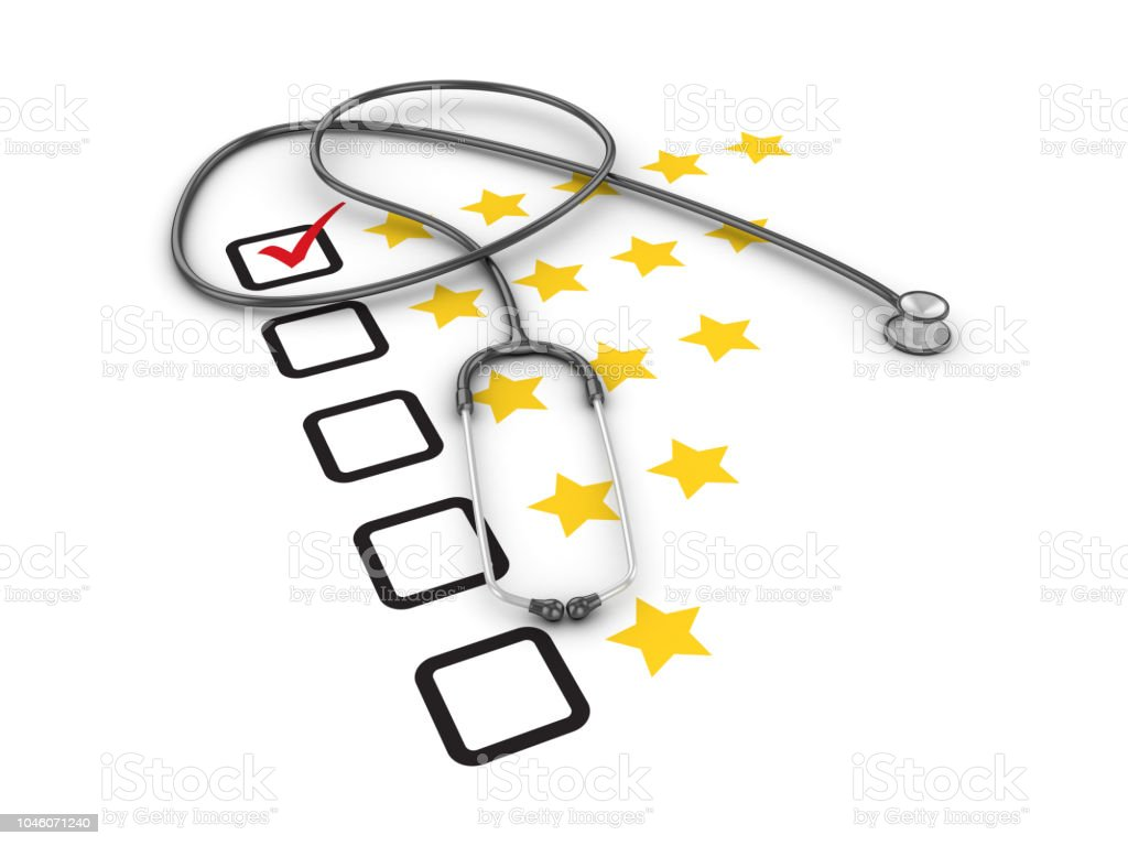 Five Stars Survey Check List with Stethoscope - 3D Rendering stock photo