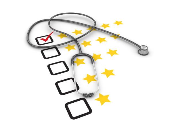 Fünf Sterne Umfrage Checkliste mit Stethoskop - 3D Rendering – Foto